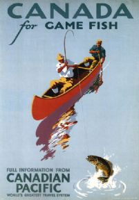 Vintage Travel Poster Canada, Game Fishing